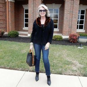 Lauren Ralph Lauren faux fur  cashmere cardigan